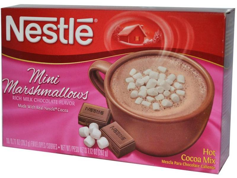 В составе смеси дляприготовления горячего шоколада ужеесть кусочки маршмеллоу